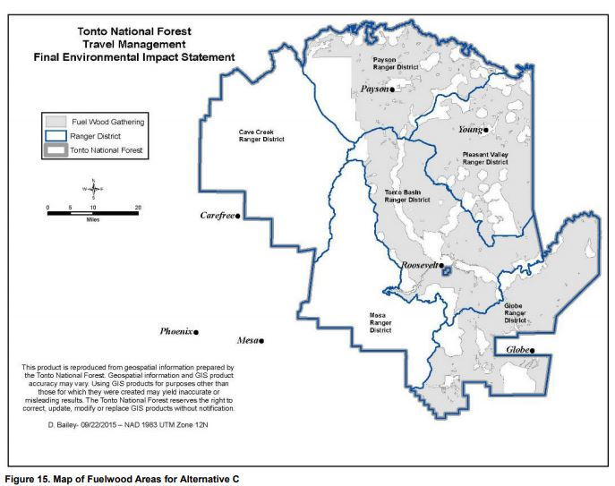 Map showing where the 300-foot rule applies to permit holders gathering firewood.