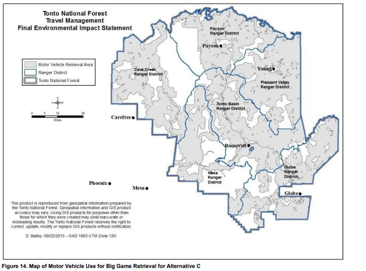 Map showing where hunters are permitted to travel off-trail while retrieving big game species.