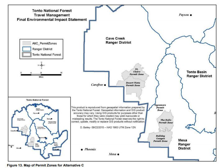 Map of Permit Zones in the Tonto National Forest