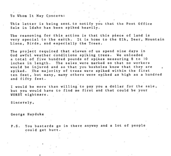 The tree spiking letter Tracy Stone-Manning mailed to the U.S. Forest Service in 1989